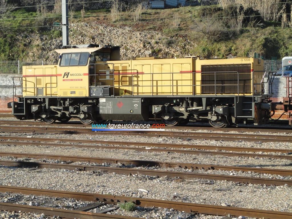 Une locomotive thermique Vossloh MaK G1206 de l'entreprise Meccoli