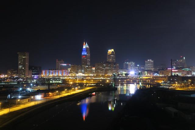 Cleveland skyline from Lorain-Carnegie Viaduct, February 2019