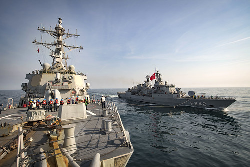 USS Donald Cook (DDG 75) participates in a simulated replenishment-at-sea with the Turkish navy.   by Official U.S. Navy Imagery