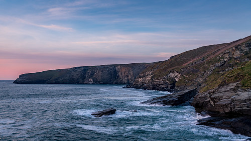 cliff cliffs sea seascape travel explore cornwall trebarwith seaside coast coastal sunset rocks rock marine sky wave waves