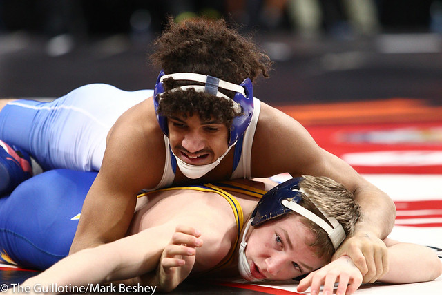120 - Quarterfinal - Cael Swensen (Wayzata) 47-3 won by decision over Cole West (Woodbury) 37-4 (Dec 5-3) - 190301amk0011