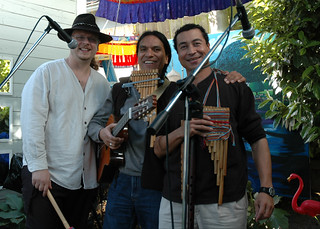 Peter Selden with Compas Andino plays at Linda Lane's birthday party, Wallingford, Seattle, Washington, USA