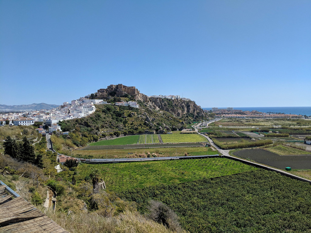 A view of Salobrena castle and the old town, with the sea in the background