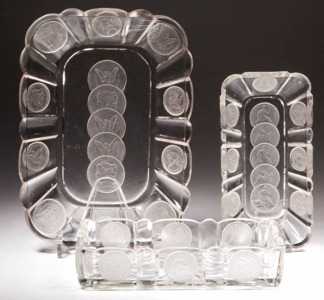 Central Glass Company coin glass bread tray