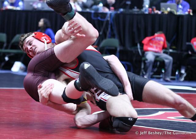 126A 5th Place Match - Sam Kulseth (Saint James Area) 37-9 won by decision over Wyatt Lahr (Royalton-Upsala) 27-18 (Dec 8-3). 190302BJF0199