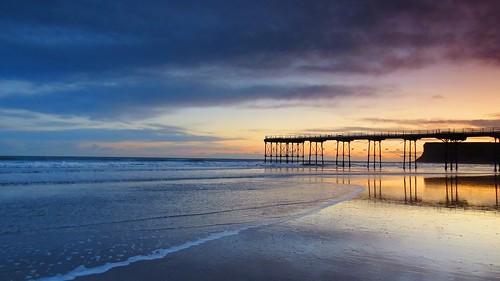 saltburn beach pier sunrise