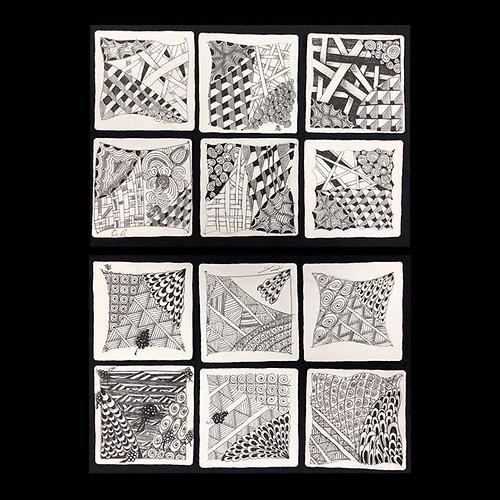 "Fantastic tiles from tonight's ""Introduction to Zentangle"" class at @walkervilleartistscoop. #zentangle #tangle #tangling #czt #laurelstoreyczt #art #classes #artclass #artclasses #draw #drawing #windsor #ontario #yqg #wetangle #windsoressextangle #visitw | by Laurel Storey, CZT"