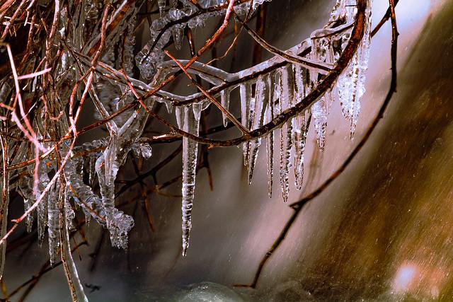 how the icicles are created with the cold in the river, como se crean los carámbano con el frió en el Rio