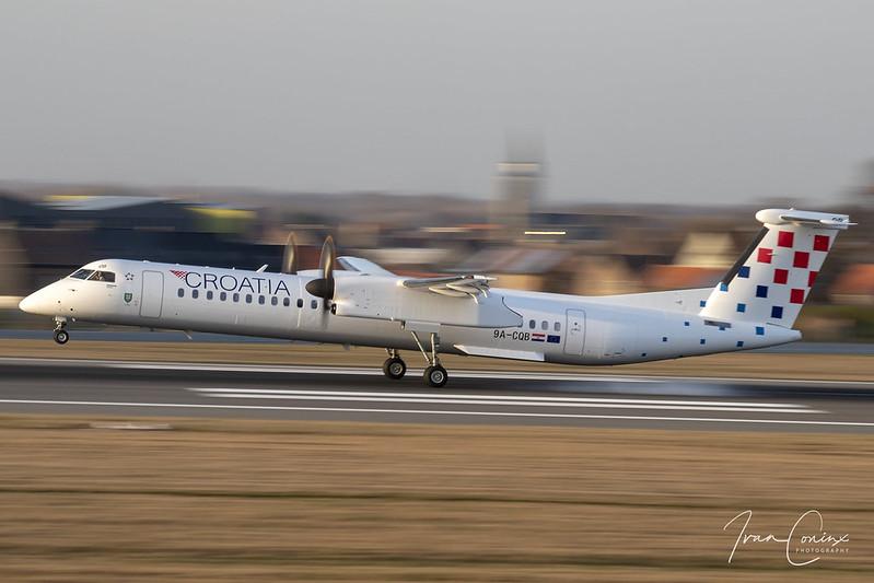 Bombardier DHC-8-402 Q400 – Croatia Airlines – 9A-CQB – Brussels Airport (BRU EBBR) – 2019 02 18 – Landing RWY 25L – 01 – Copyright © 2019 Ivan Coninx
