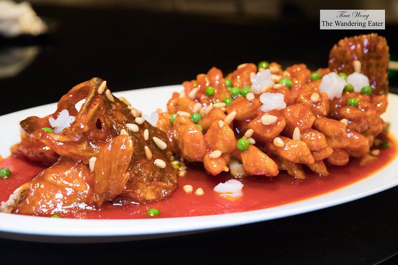 Deep-fried Mandarin fish with sweet and sour sauce 松鼠桂鱼(例) covered in pine nuts and peas