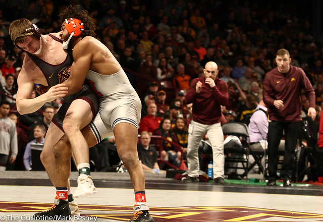 Champ. Round 1 - Dylan Anderson (Minnesota) 13-8 won by decision over Andre Lee (Illinois) 13-13 (Dec 4-1) - 1903amk0198