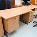 Oak desk fixed ped E150