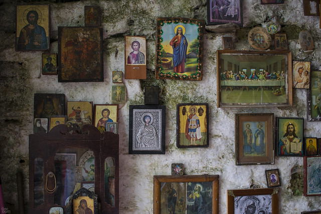 Wall of church located inside a cave in the mountains