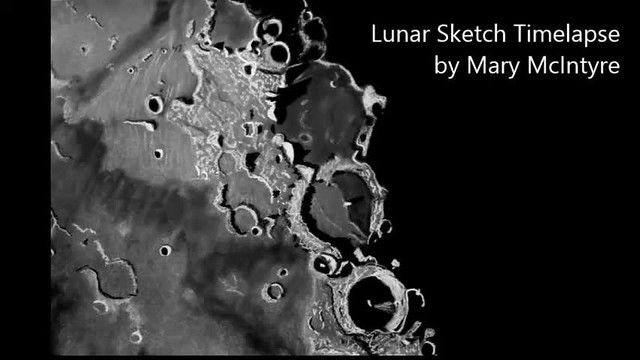 Sketching Lunar Craters Ptolemaeus, Alphonsus & Arzachel - Timelapse / Instructional Video