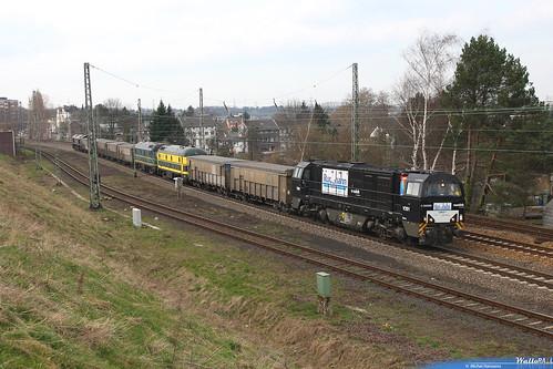 G 2000 V201 RTB Cargo + 5922+5930 ex-Vennbahn + MRCE 653-05 RTB Cargo . Raeren Düren (Rurtalbahn GmbH) . Eschweiler Hbf .14.03.08.