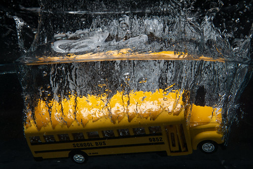 Toy bus falling into fish tank | by vincentinfante