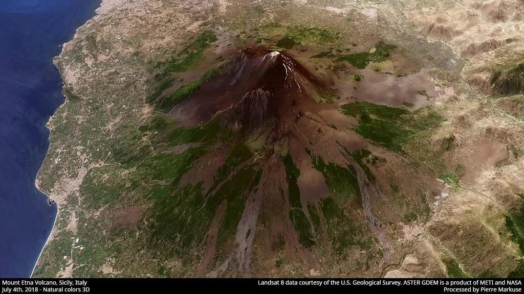 Mount Etna Volcano 3D rotation