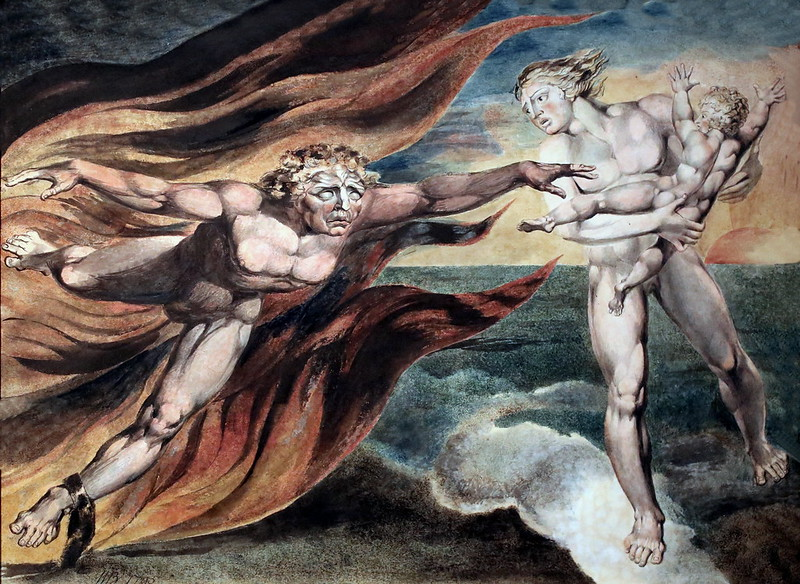 IMG_1818 William Blake. 1757-1827. Londres. Les bons et les mauvais anges. The Good and Evil Angels. vers 1800. Londres Tate Britain. Encre, peinture à l'eau sur papier. Ink, watercolor on paper.