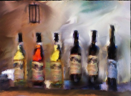 Six bottles of wine. Painterly still life. Perissos Vineyard. | by Richard Denney