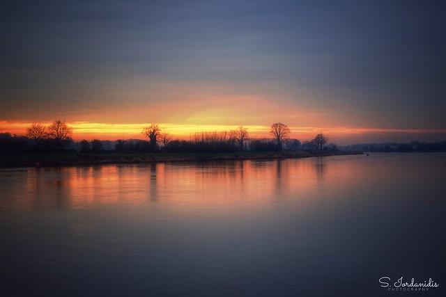 Sunset, Maas River