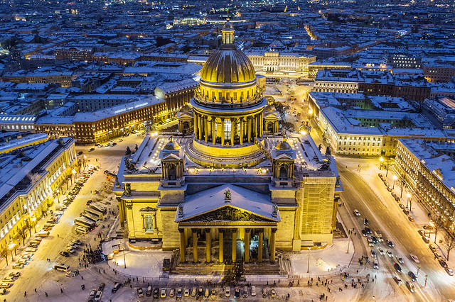Saint Isaac's Cathedral winter view from air