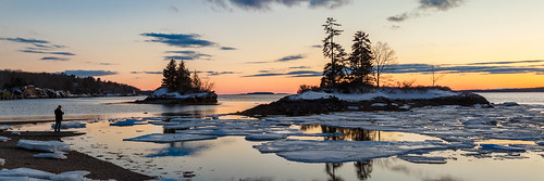 harpswell lookoutpoint maine sunset sundown dusk panorama winter ice
