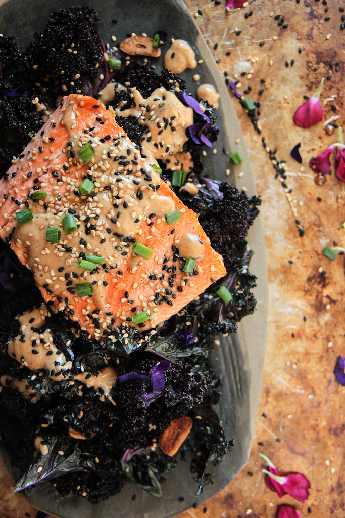 Keto Crispy Sesame Almond Ginger Salmon with Garlicky Kale from HeatherChristo.com