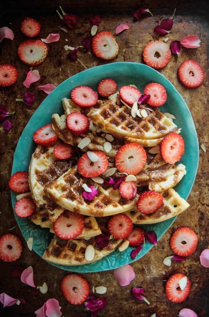 Waffles with Coffee Almond Syrup (Gluten Free and Vegan) from HeatherChristo.com