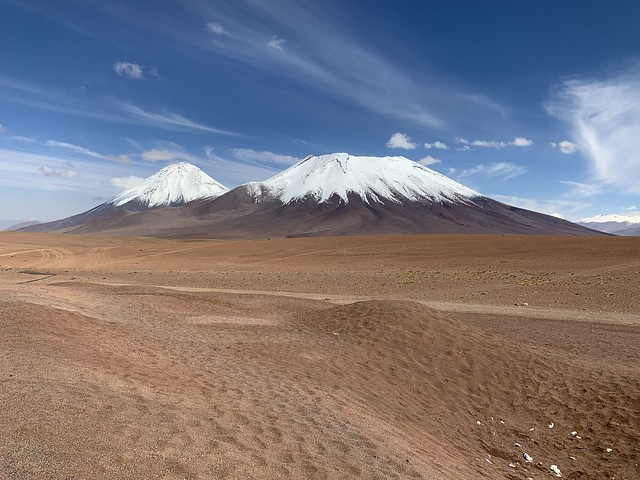 The Licancabur and the Juriques Volcanoes, the Atacama Desert at 4,630 meters (15,190.29 feet), Chile/Bolivia.