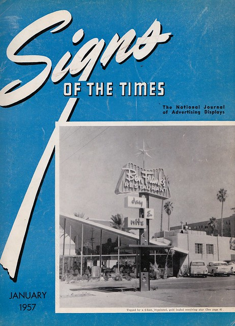 Signs of the Times July 1957 Cover - Ben Frank's Restaurant, Los Angeles - Sign by Heath