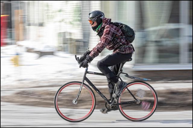 Winter Cycling Girl on Bank Street