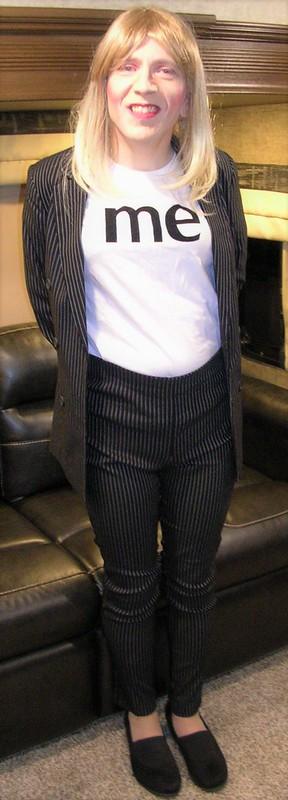 "Pinstripe suit & ""Me"" shirt"