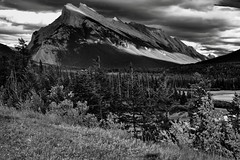 Mount Rundle from the Trans-Canada Highway (Black & White, Banff National Park)