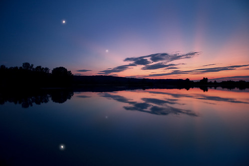Moon And Venus Over Lake | by Millan_1977