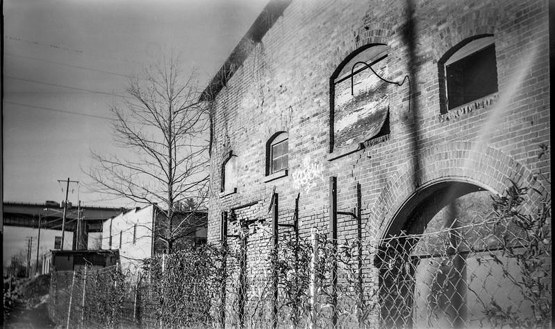 abandoned industrial building, urban architecture, River District, Asheville, NC, Eastman Kodak No. 2 Bulls Eye Model D, Kodak Tri-X 400, HC-110 developer, 3.23.19