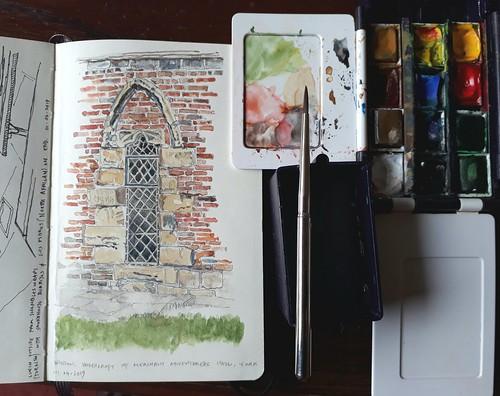 Adding colour to the window, Merchant Adventurers Hall