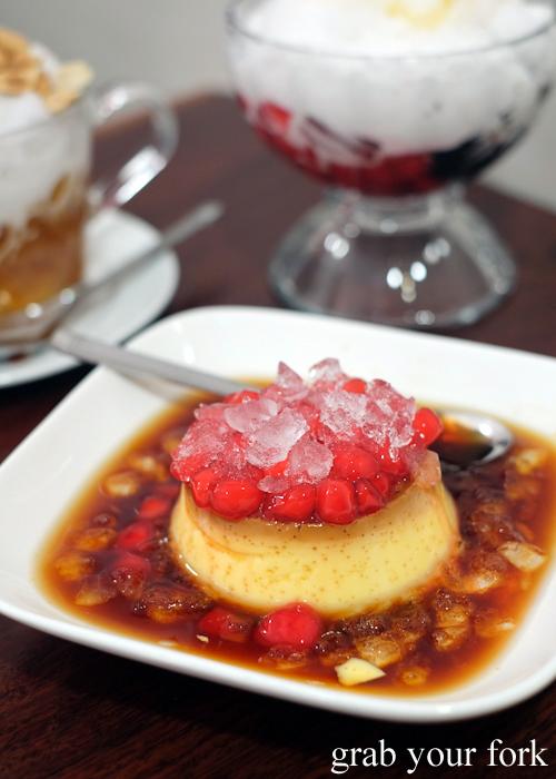 Banh flan Vietnamese creme caramel with red rubies at Cafe Nho in Bankstown Sydney