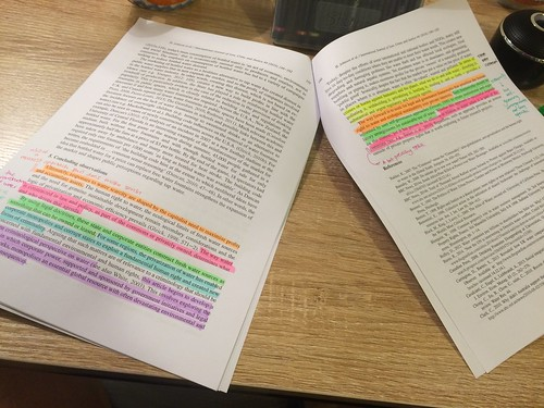 Highlighting, scribbling, reading