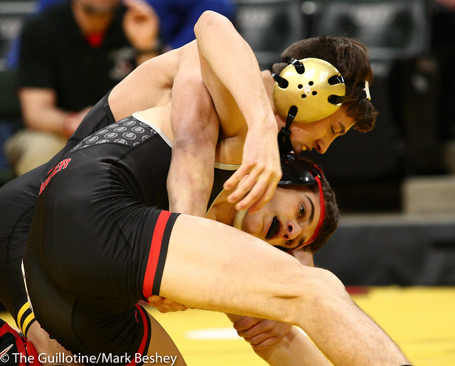 138 - Semifinal - Sebas Swiggum (Apple Valley) 52-2 won by decision over Trey Kruse (Stillwater) 43-6 (Dec 3-2) - 190302amk0071