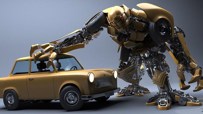 Обои робот, автомобиль, крушение картинки на рабочий стол, фото скачать бесплатно