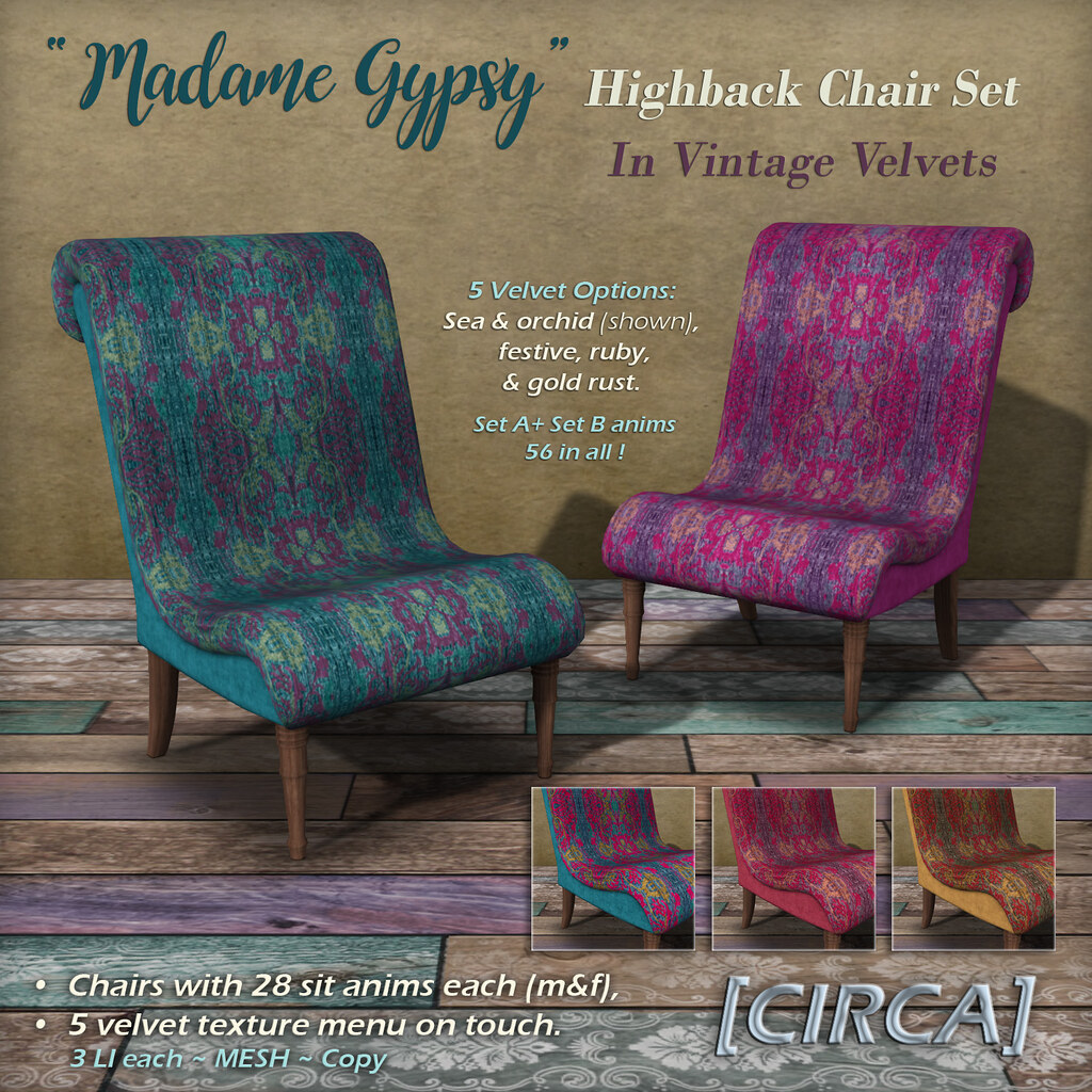 "@ The Boardwalk | [CIRCA] - ""Madame Gypsy"" - Highback Chair Set - In Vintage Velvets - TeleportHub.com Live!"