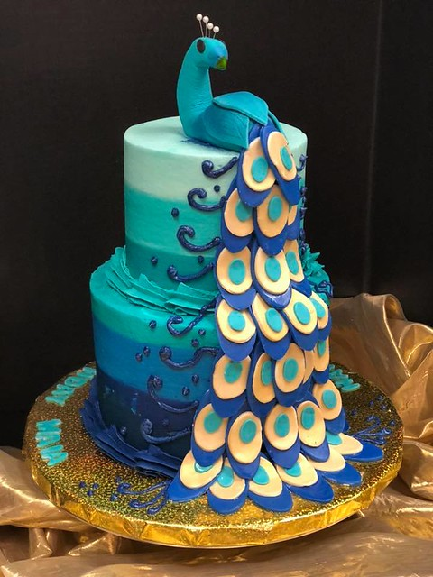 Peacock Cake by Charmed Cakes