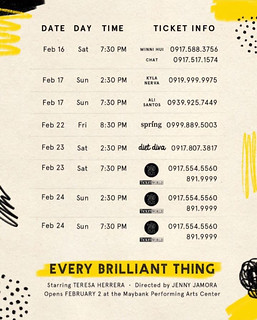 Every Brilliant Thing Feb 16-24 | by OURAWESOMEPLANET: PHILS #1 FOOD AND TRAVEL BLOG