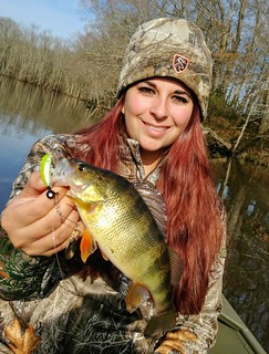 Photo of Girl holding yellow perch