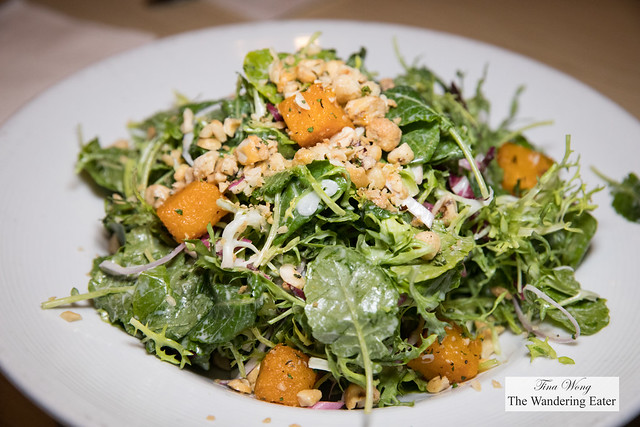 Baby kale & roasted squash salad, pancetta, candied hazelnuts, goat cheese vinaigrette