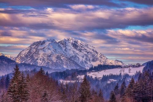 daddy papà austria mountainscape snow clouds sunset evening pink landscape