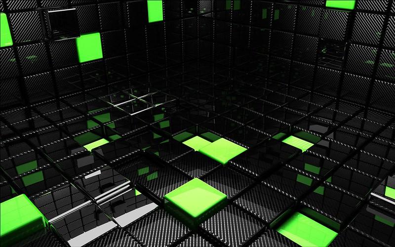 Обои куб, квадрат, зеленый, черный, пространство картинки на рабочий стол, фото скачать бесплатно