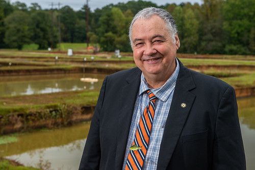Rex Dunham stands next to fish ponds