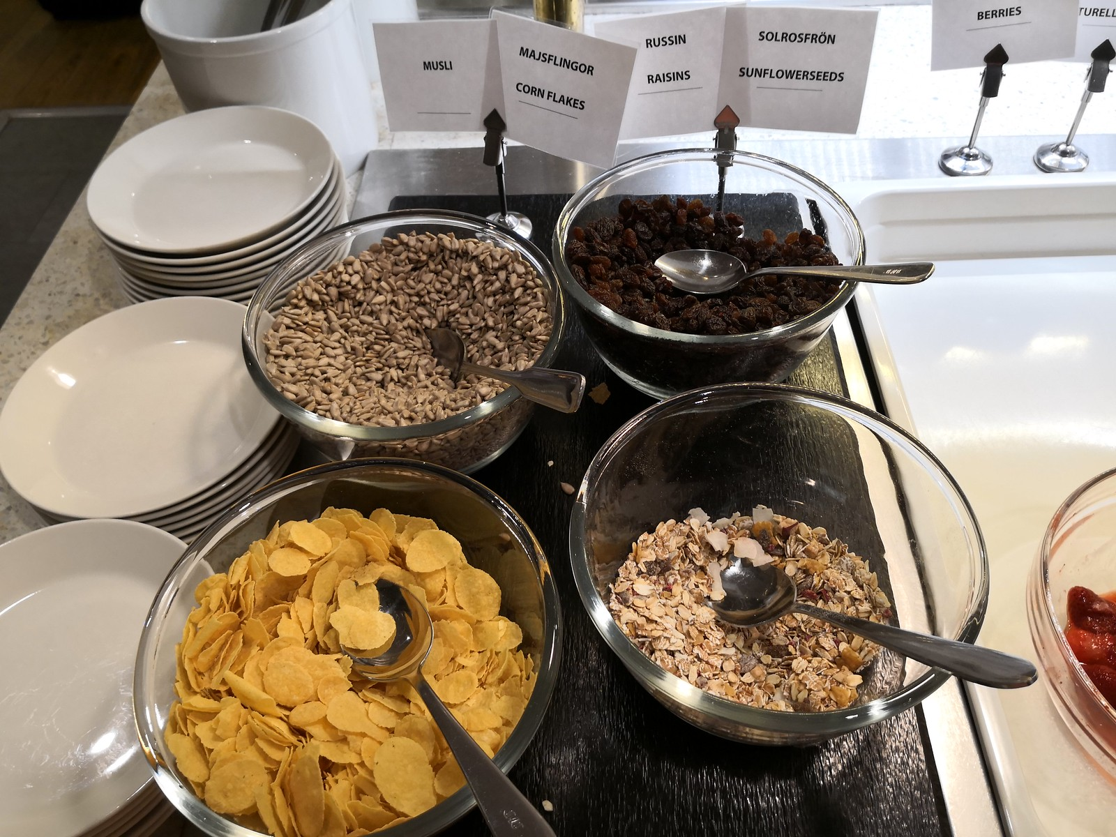 Cereal choices on the buffet