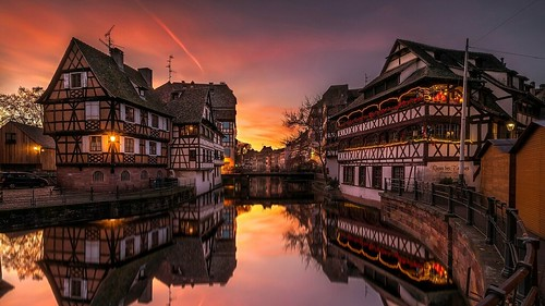 France - Strasbourg - River-evening-city-lights | by monte-leone